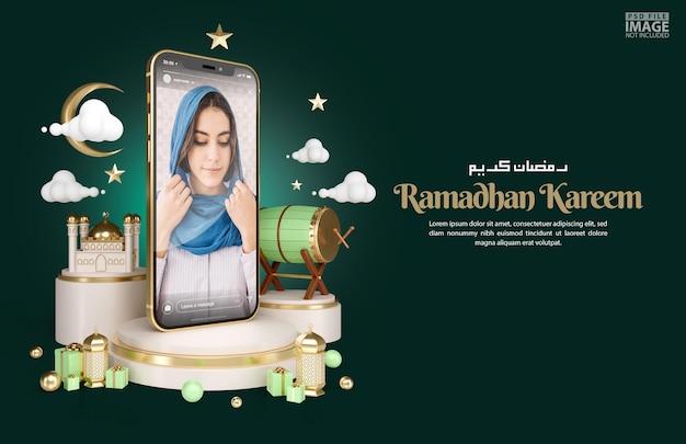 Decoración islámica para el fondo de saludo de ramadan kareem con plantilla de banner de maqueta de teléfono inteligente