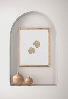 Decoración de marco con hojas y jarrones