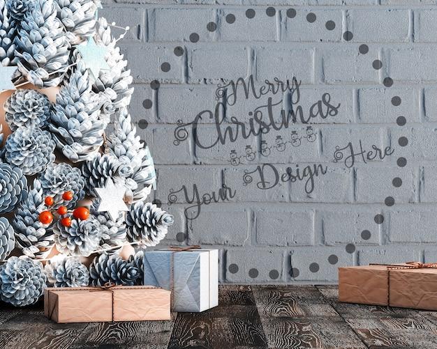 Decoración navideña con árbol de navidad y maqueta de papel tapiz