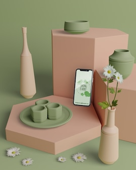 Decoraciones 3d de primavera con teléfono