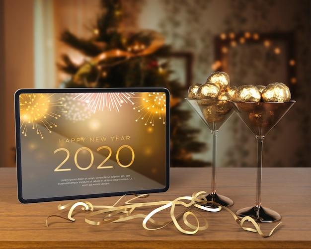 Decoraciones temáticas para la noche de año nuevo.
