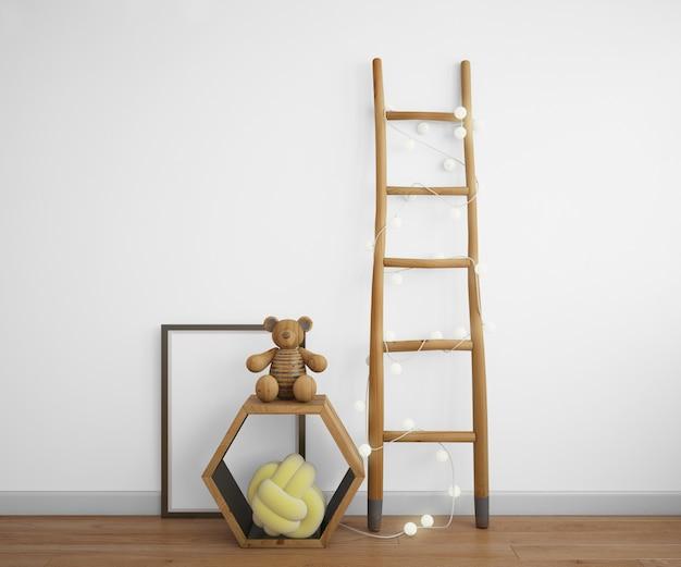 Decoratie-elementen met trappen, frame en speelgoed