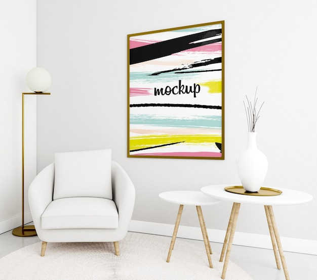 Decoratief arrangement met frame mock-up