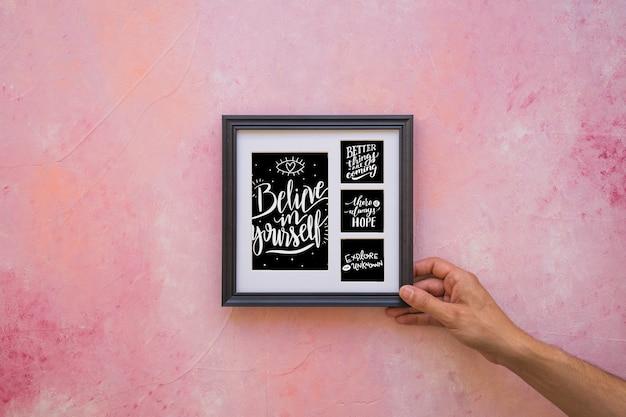 Decoratief citaat en frame mockup concept