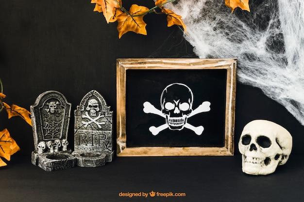 Decoratieve halloween leisteenmockup