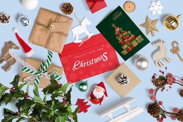 Decoratieve kerst mockup