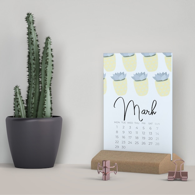 Decoratieve mock-up kalender
