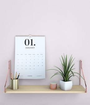 Decoratieve mock up opknoping kalender Gratis Psd