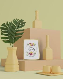 Decoratieve vazen op tafel met mock-up