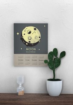 Decorativo mock up calendario da parete con tema luna