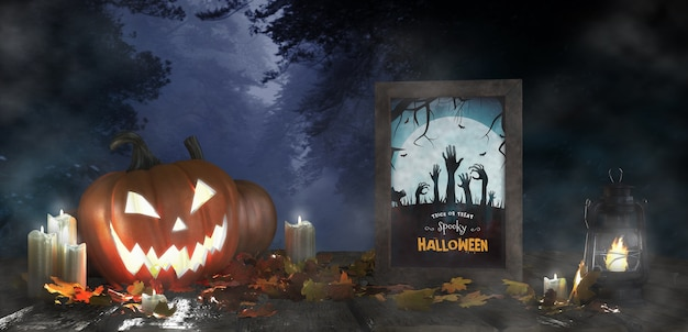 Decorazione spaventosa per halloween con poster di film horror incorniciato