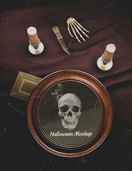 Decorazione vintage della cornice rotonda di halloween con teschio