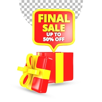 Definitieve verkoop 50 procent korting op aanbieding met rode en gele verrassingsgeschenkdoos 3d render geïsoleerd