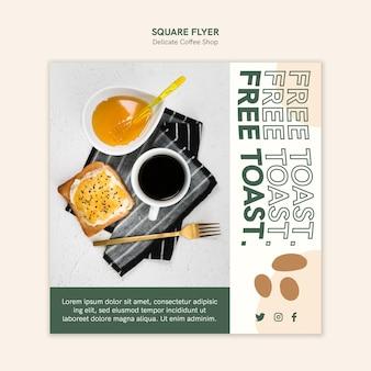 Delicate coffeeshop vierkante flyer-sjabloon