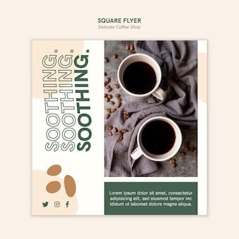 Delicate coffeeshop vierkante flyer-stijl