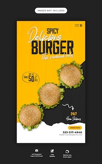 Deliciosa hamburguesa y menú de comida plantilla de historia de instagram y facebook