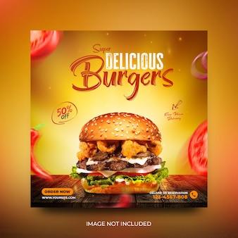 Deliciosa hamburguesa y menú rápido plantilla de banner de publicación de redes sociales psd gratis