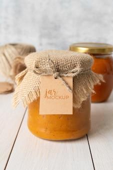 Deliciosa maqueta de etiqueta de tarro de mermelada