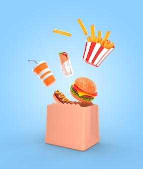 Deliciosa maqueta de render de comida rápida
