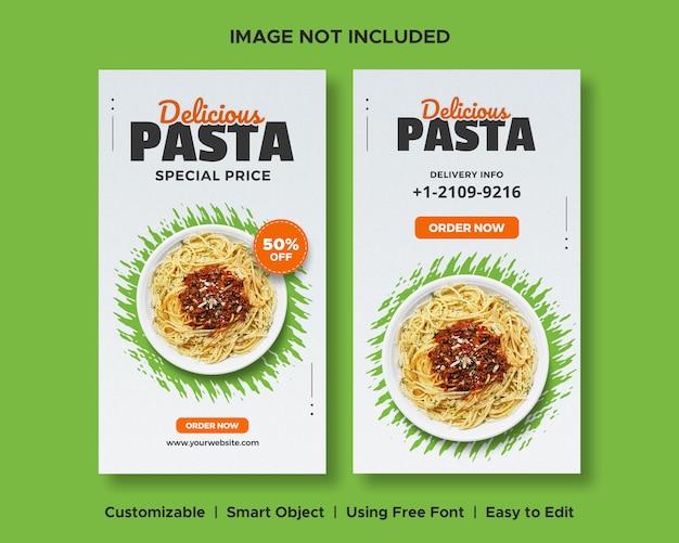 Deliciosa pasta comida descuento menú promoción social media banner