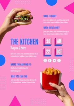 Deliciosa plantilla de comida rápida americana