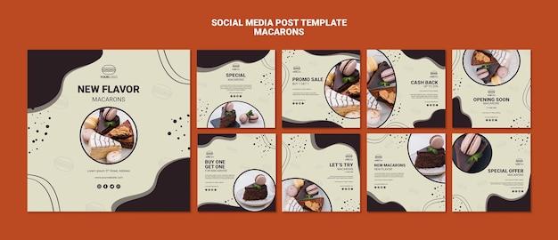 Deliciosas publicaciones de redes sociales de macarons