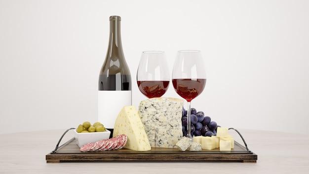 Delicioso surtido de quesos con boceto de vino tinto