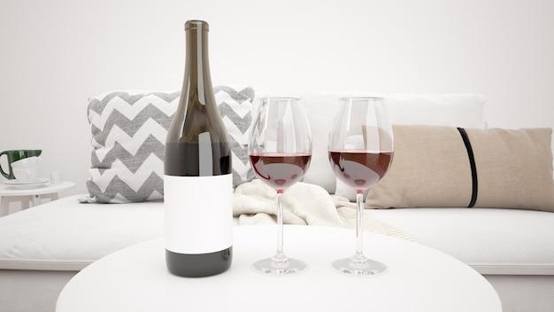 Delicioso vino tinto en una maqueta moderna de la sala de estar