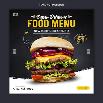 Delicious burger social media postsjabloon