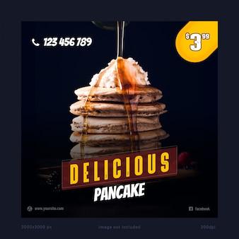 Delicious pancake social media banner template