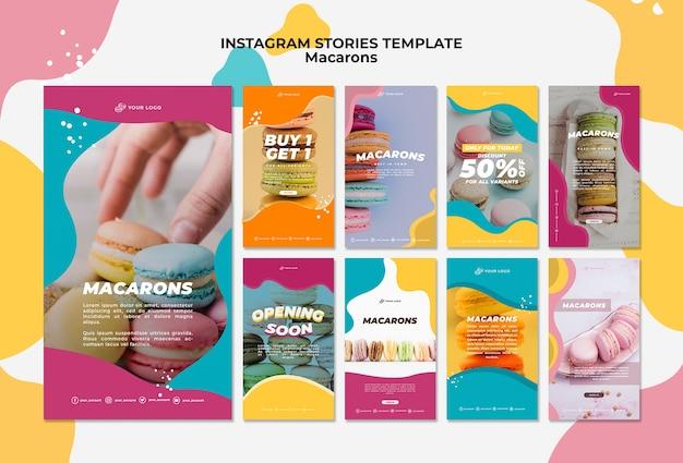 Deliziose storie di instagram di macarons dolci