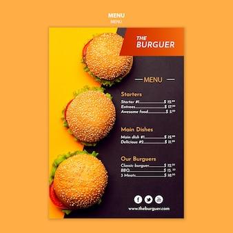 Delizioso menu del ristorante di hamburger