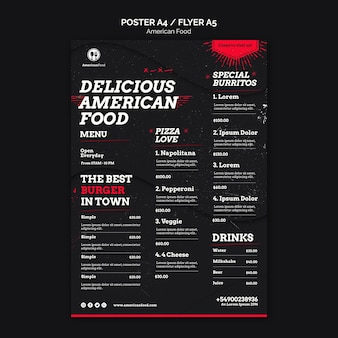 Delizioso menu di cucina americana