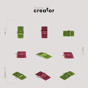 Denaro contante vari angoli per le illustrazioni del creatore della scena