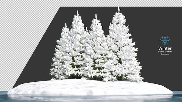 Dennenboom bedekt met sneeuw op een klein eiland omringd door een bevroren meer uitknippad