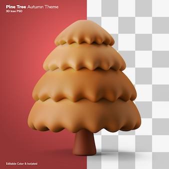 Dennenboom herfst 3d illustratie weergave pictogram bewerkbaar geïsoleerd