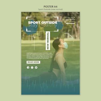 Deporte fuera del concepto de plantilla de póster