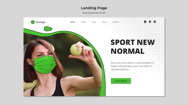 Deporte fuera de la página de aterrizaje con foto