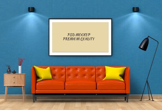Derida sulla struttura del manifesto in salone e sofà interni, 3d rendono