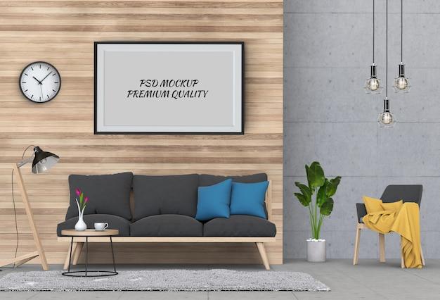 Derida sulla struttura del manifesto nel salone e nel sofà interni, 3d rendono