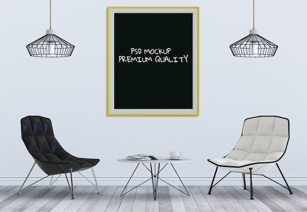Derida sulla struttura del manifesto nel salone e nella sedia interni, 3d rendono