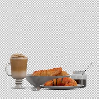Desayuno isométrico 3d aislado
