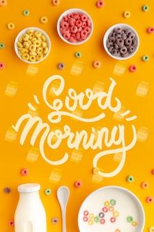 Desayuno de la mañana con cereales y leche.