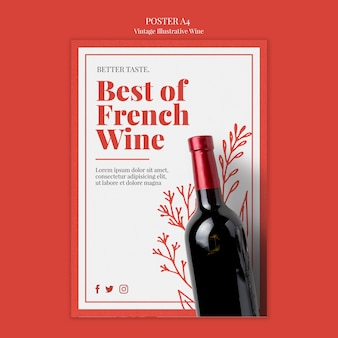 Design del poster di vino francese