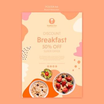 Design del poster per la super offerta per la colazione