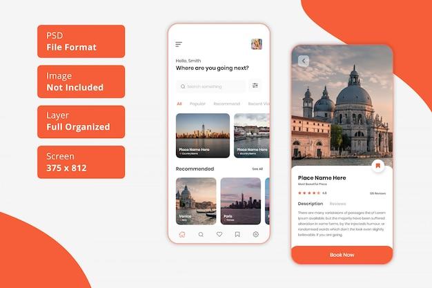 Design dell'interfaccia utente dell'app mobile di viaggio