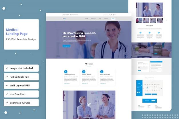 Design della pagina di destinazione web medica