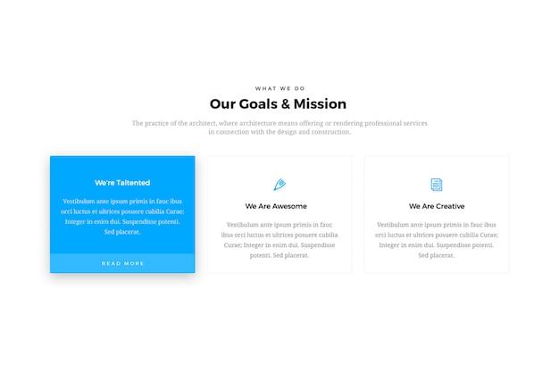 Design della scatola delle caratteristiche del sito web minimal & creative