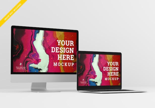 Design dello schermo mockup del dispositivo digitale. modello psd.