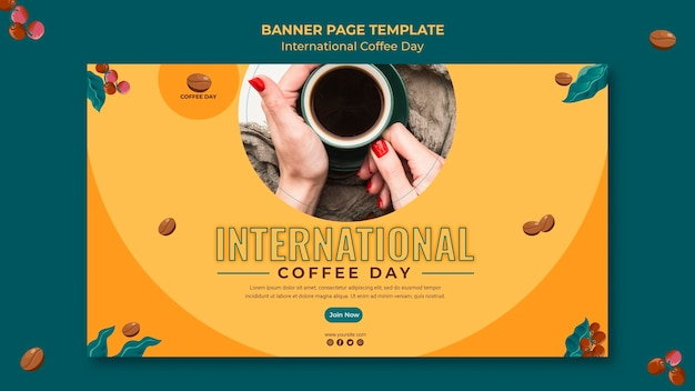 Design di banner per la giornata internazionale del caffè